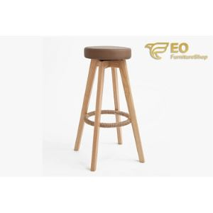 Wood Leather Bar Stool